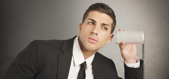 Concept of businessman spy secrets on business